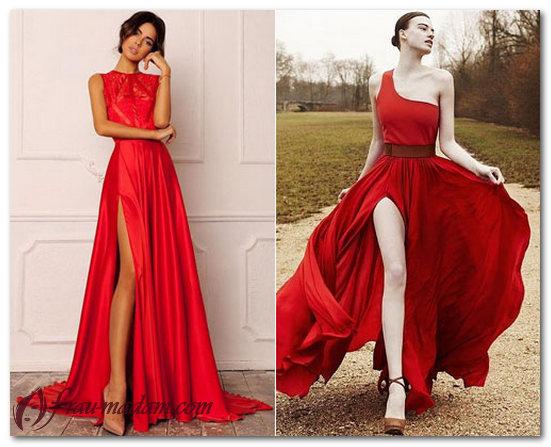 длинное красное платье в пол фото