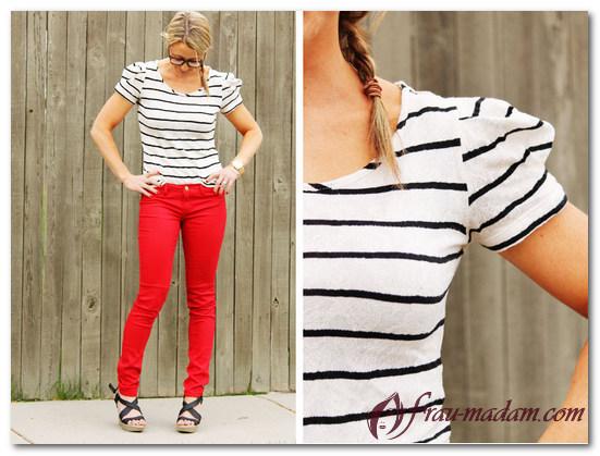 красные джинсы с чем носить фото