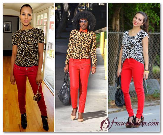 с чем носить красные джинсы женские