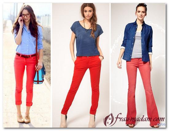красные джинсы женские