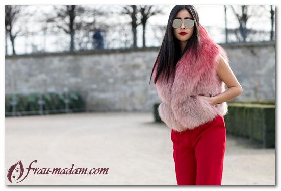 красные узкие джинсы и мех