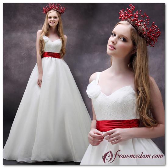 красно белое свадебное платье