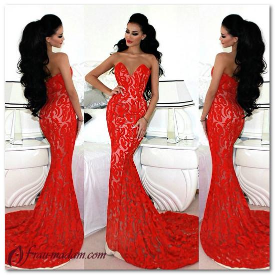 красные вечерние платья в пол фото