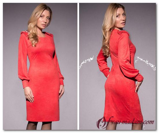 замшевое красное платье как носить