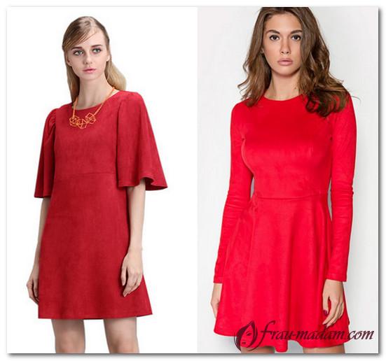 красное платье из замши