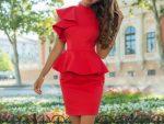 С чем носить красное платье с баской: фото образов