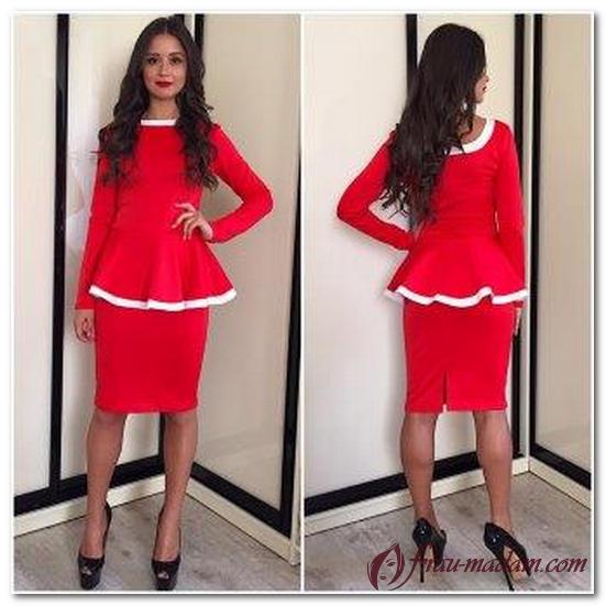 красное платье с баской фото с чем носить