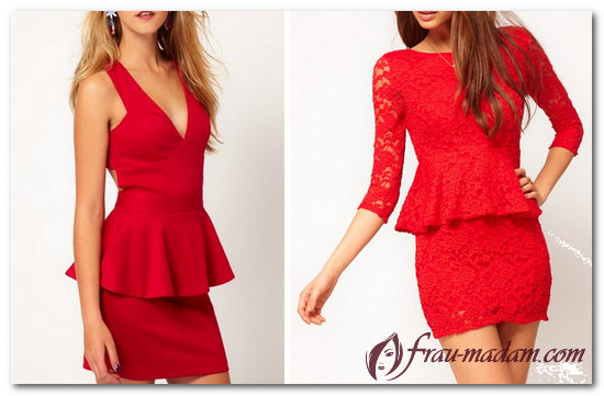 красное платье с баской фото