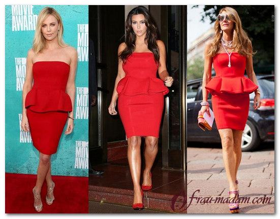 красное платье с баской с чем одеть