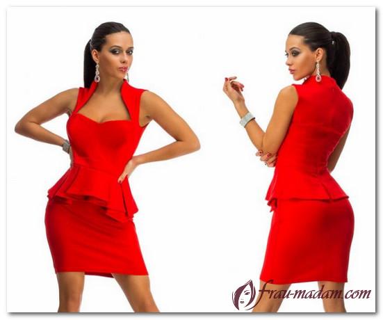 красное платье с баской какую обувь одеть