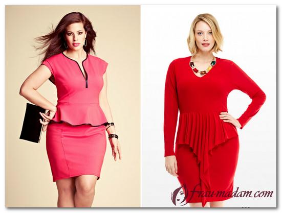 красное платье с баской для полных