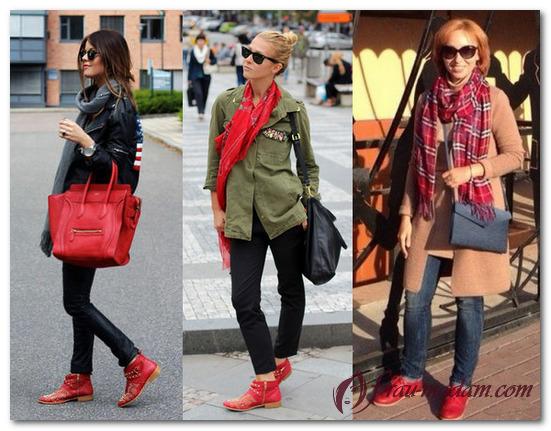 3b838f06586d С чем носить красные женские ботинки и ботильоны (фото)?