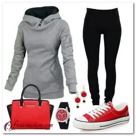 красные кожаные кеды с чем носить