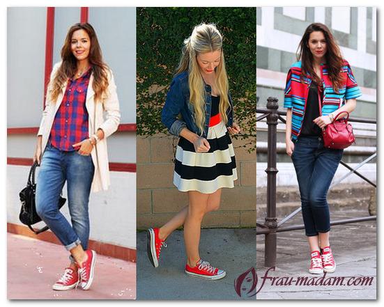 красные кеды женские с чем носить фото
