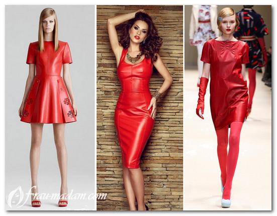 красное кожаное платье фото
