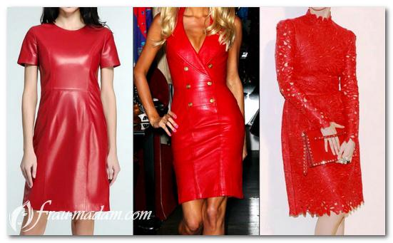 Красное кожанное платье на каждый день