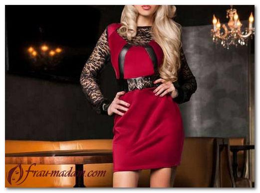 Комбинированные красные платья