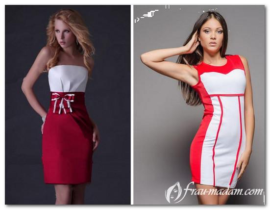 платье белый верх красный низ