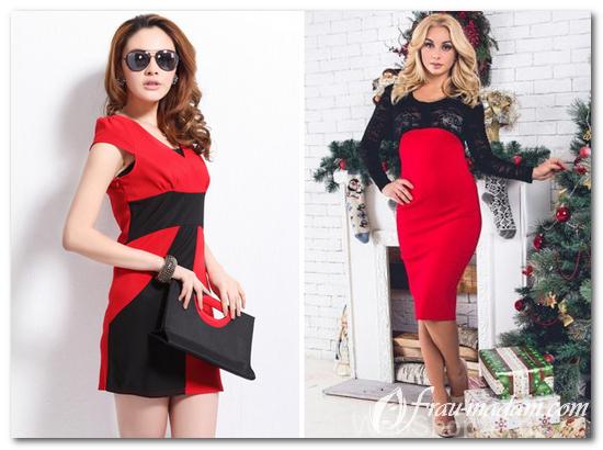 комбинация красное платье