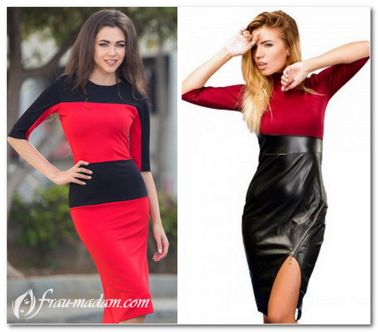 платье черный верх красный низ