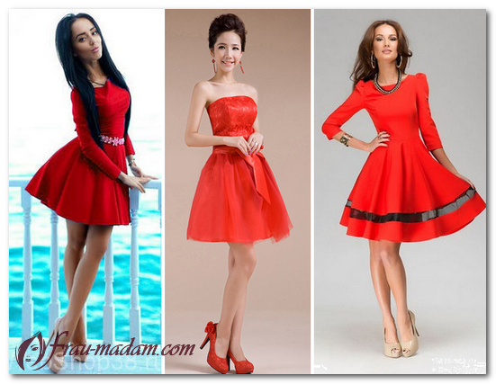 красное платье пышное короткое
