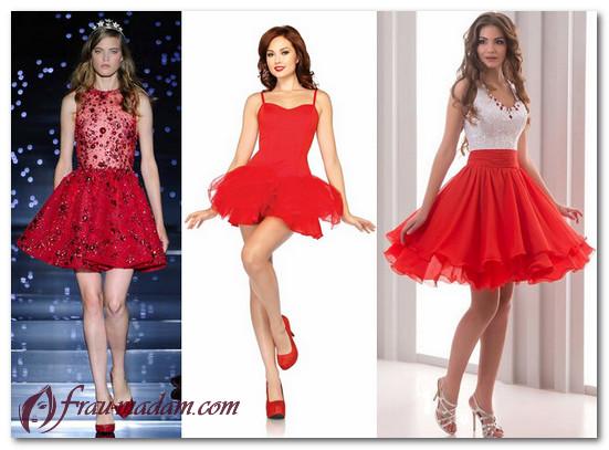 красное короткое платье с пышной юбкой