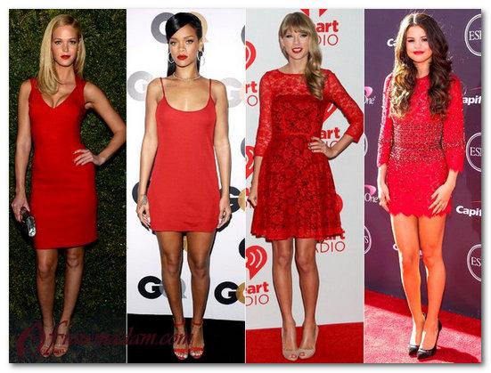 красное платье приталенное