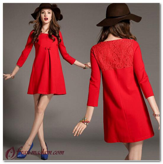 красное платье трапеция