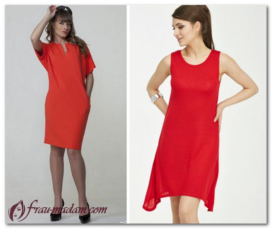 красное платье выше колена