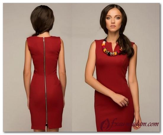 12f0adb87b7 Короткое красное платье-футляр с длинным рукавом и без (фото)
