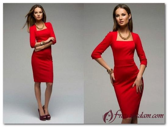 красное платье фото короткое