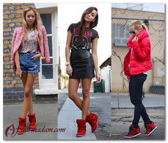 с чем носить красные кроссовки женские