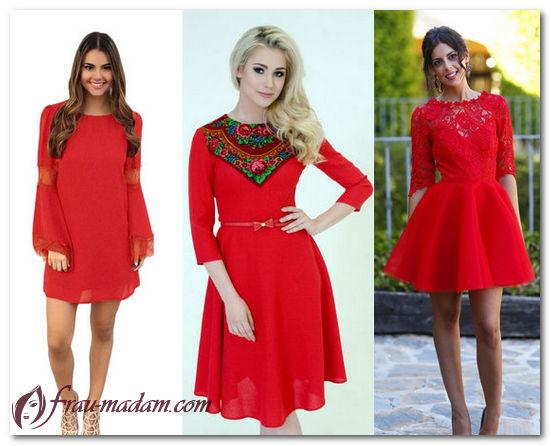 летние платья красного цвета с чем носить