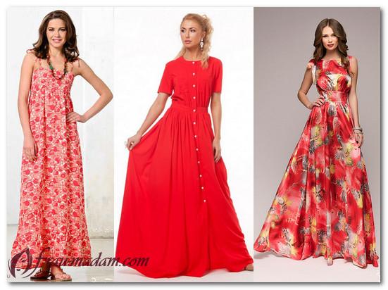 длинные красные платья лето