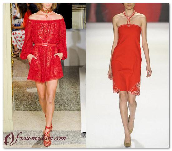 платья красного цвета лето образы