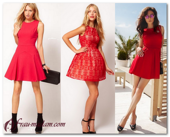 красные платья лето обувь