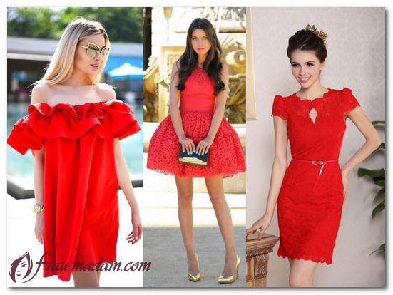красное летнее платье короткое