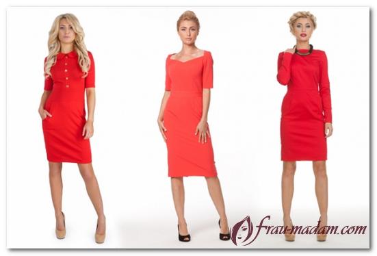 красное классическое платье