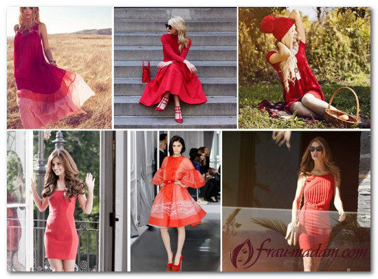 красное классическое платье с чем носить