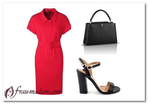 С чем носить красное офисное платье: фото?