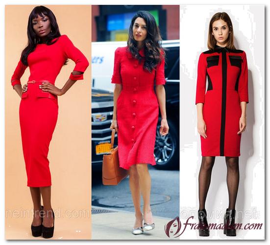 красное офисное платье как носить