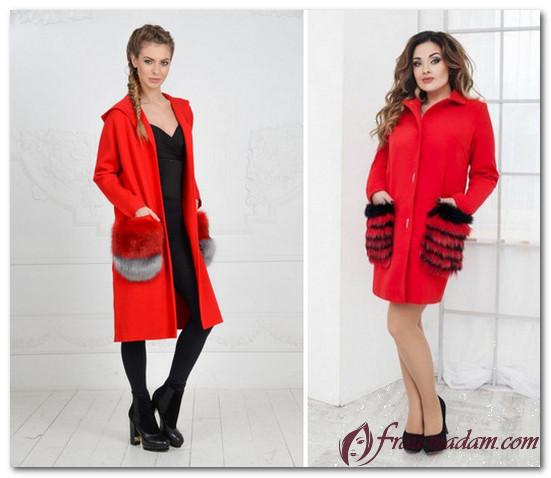 красное пальто женское фото