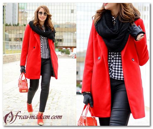 платок к красному пальто
