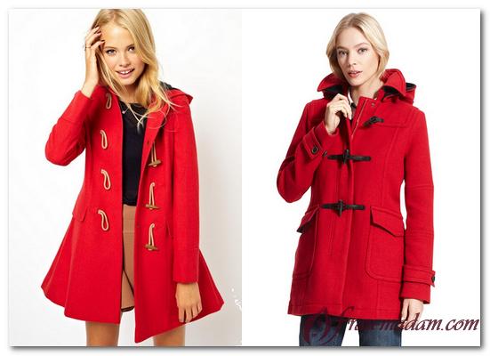 красный дафлкот с чем носить