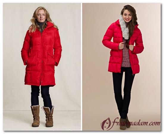 зимнее красное пальто с меховым воротником