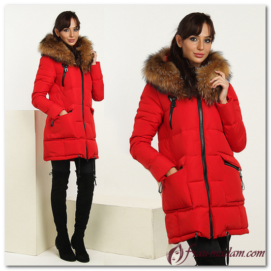красное пальто с мехом фото