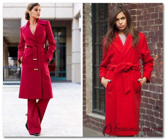 красное длинное пальто