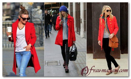 красное драповое пальто