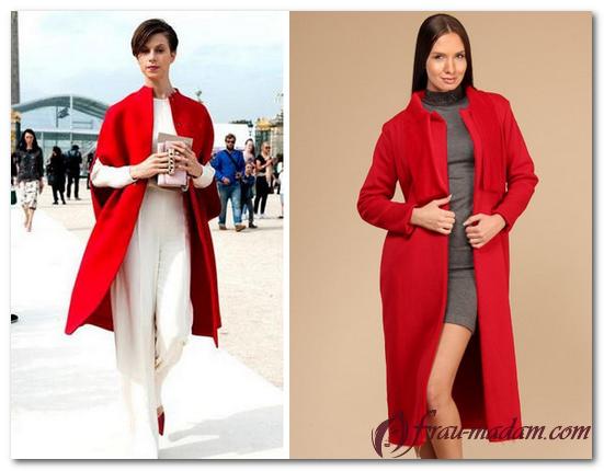 красное приталенное пальто