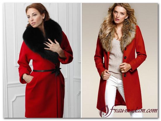 красное зимнее пальто